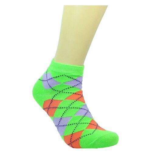 6 Pairs Women Fashion Cotton School Casual Ankle Low Cut Socks Size 9-11 argyle