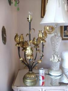 Details About Vintage Italian Black Gold Gilt Tole Lotus Tulip Flower Large Table Lamp