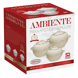 3pc-Hot-Pot-Set-Food-Warmer-Serving-Insulated-Casserole-Pan-Dish-Bowl-Cream-AMB