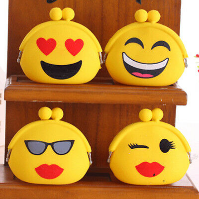 Women Girls Wallet Emoji Smiley Face Silicone Jelly Coin Bag Purse Kids Gift JXK