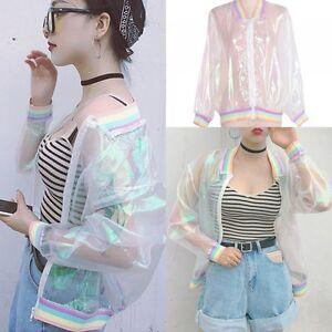 new product af592 2464a ... Lady-irise-transparent-Veste-Holographique-Manteau-Laser-arc-