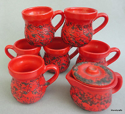 Laurentian Pottery 6 Mug 1 Creamer Set Red Fat Lava c1970s LP Stamp 8oz Canada
