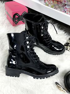 New-Black-Womens-Military-Combat-Army-Biker-Work-Boots-Studded-Ankle-Shoe-Patent