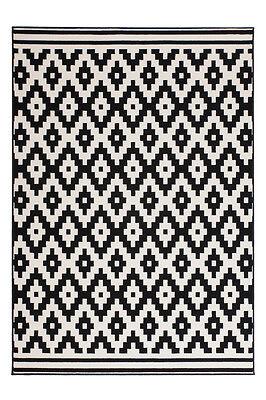Teppich Flachflor Arabesque Scandic Design Modern Teppiche Schwarz Weiß