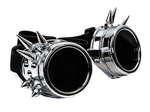 "3/"" Spike Silver goggles cyber punk gothic cosplay aviator Steampunk Burning Man"