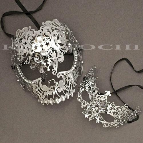 Halloween Couple Full Face Metal Evil Skull /& Venetian Masquerade Eye Masks