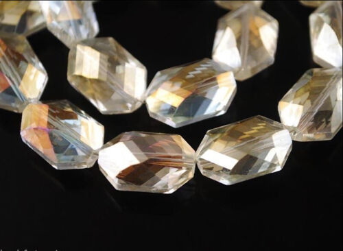 Charms Ovale Hexagone Facette Verre Perles Cristal Spacer Finding 18x22mm 11 couleurs