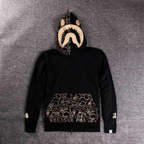 Bape* A Bathing ape Jacket SHARK Head Gold FULL ZIP HOODIE Long Sleeve Clothes