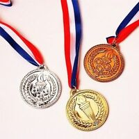 3 Plastic Torch Medal Set Gold Silver Bronze Party Favor Olympic Event Prize Toy