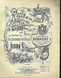 Johann-Strauss-ROSEN-AUS-DEM-SUDEN-Op-388-uebergrosse-alte-Noten
