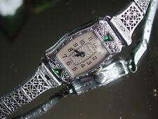 1929 Ladies Art Deco Emerald Bulova Watch ~ Doris ~ Filigree Band