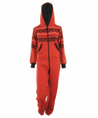 Womens Fleece Aztec Hooded Cuffed Ladies 1Onesie Night Wear Pyjama Jumpsuit