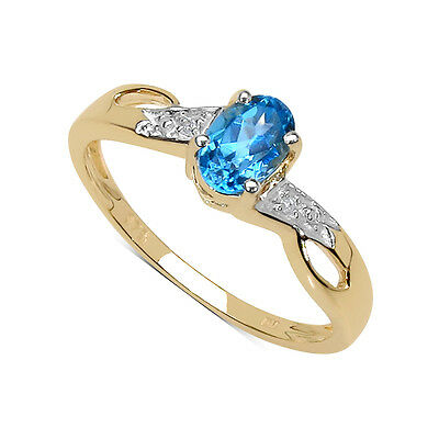 NEW 9CT GOLD SMALL BLUE TOPAZ & DIAMOND ENGAGEMENT RING SIZES H - T MOTHERS DAY