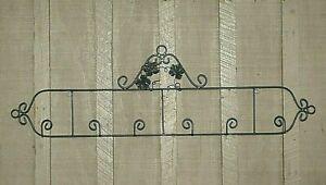 Black-Wrought-Iron-3-Plate-Wall-Mount-Rack-w-Grape-Leaf-Designs-39-1-2-034-Long