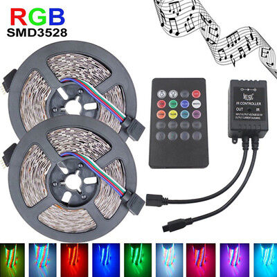 2x5m 10m 3528 SMD 600 LED Lichterkette Lichtleiste RGB Fernbedienung