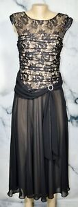 SIGNATURE-BY-SANGRIA-Black-Long-Dress-10-Slight-Cap-Sleeve-Lace-Bodice-Lined