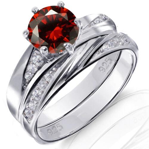 Rouge grenat brillant rond Argent Sterling Fiançailles De mariage Anneau Set 2.35 CTW