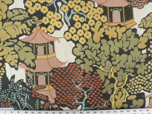 Ivory//Beige//Orange Drapery Upholstery Fabric Asian Jacquard Flowering Trees