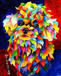 PARTY-POODLE-8X10-DOG-Colorful-Print-from-Artist-Sherry-Shipley