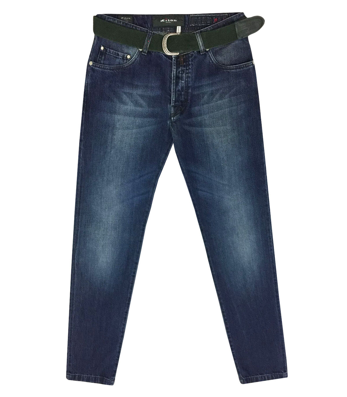 Kiton Men's bluee Cotton Jeans with Logo patch & Belt Size 40, Free Shipping