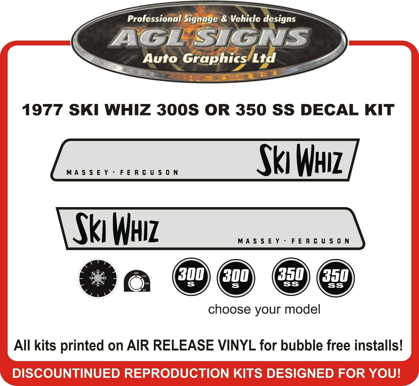1971 MASSEY - FERGUSON SKI WHIZ 350 SS DECAL SET  reproduction 300 S also