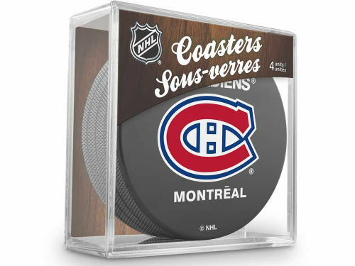 MONTREAL CANADIENS Hockey TEAM LOGO 4 COASTERS SET NEW Made from Actual Puck NHL