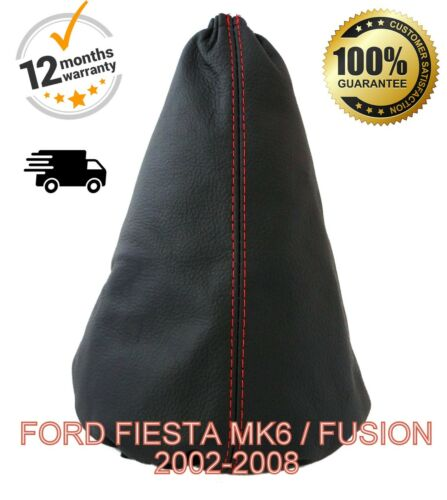 FUSION  2002-2008 REAL LEATHER GEAR GAITER COVER FORD FIESTA MK6 RED STITCH