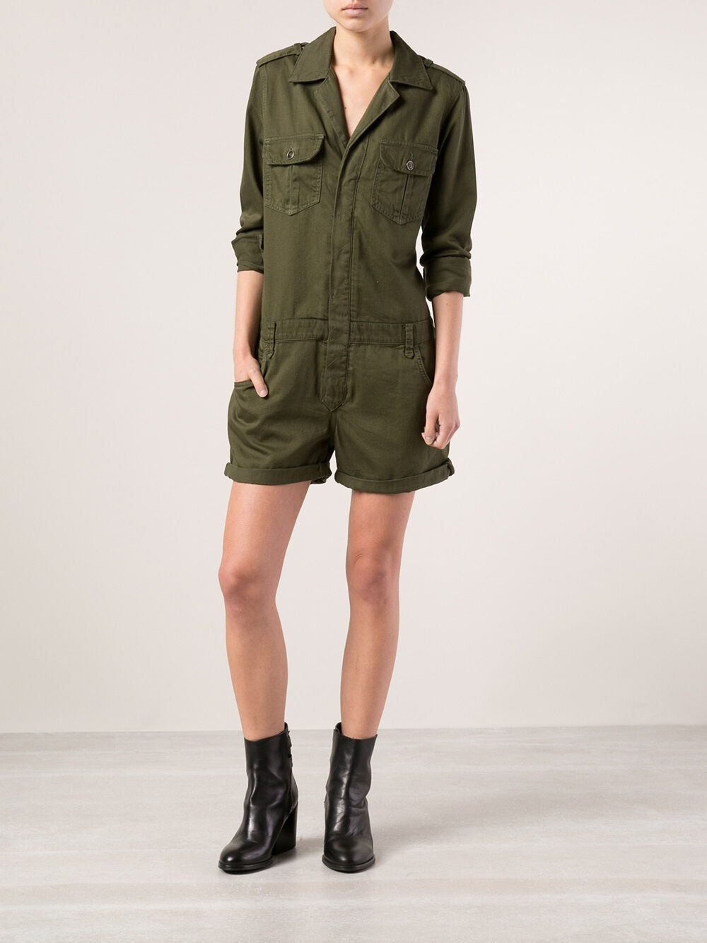 JOE'S JEANS Olive Green Military Shirtall Romper Celebrity Size S NWT  198