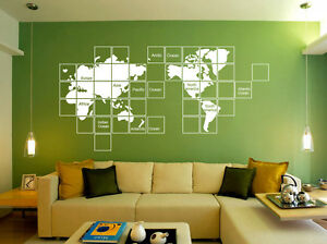 Huge mosaic world map wall sticker home decor decal uk rui263 ebay image is loading huge mosaic world map wall sticker home decor gumiabroncs Gallery