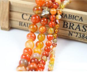4mm 6mm 8mm 10mm 12mm Natural Orange Agate Gemstone Round Spacer Loose Beads