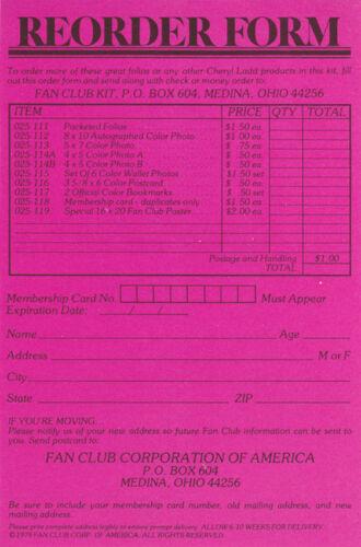 CHERYL LADD 13 PCS IN FOLDER   LC7 B POSTER//PORTFOLIO FAN CLUB OF AMERICA