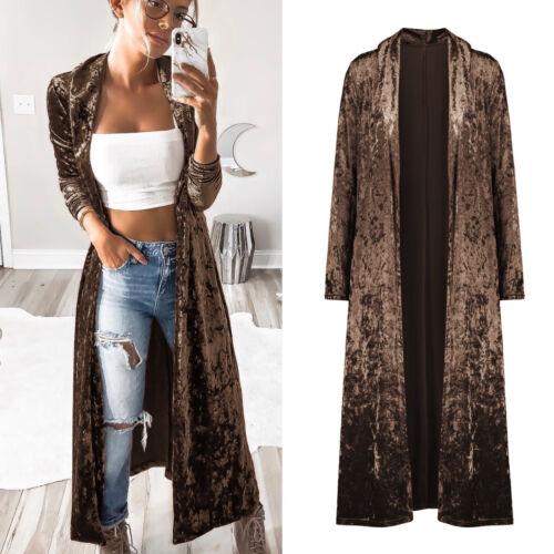 UK Women Long Sleeve Suede Cardigan Jacket Maxi Fit Coat Outwear Party Plus Size