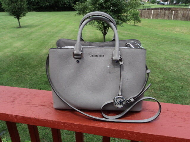 b1272fea487a Michael Kors Pearl Grey Saffiano Leather Large Savannah Satchel Purse Bag  for sale online
