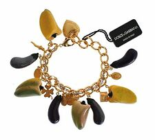 NEW DOLCE & GABBANA Bracelet Charms Gold Brass Aubergine Paprika Sicily Chain