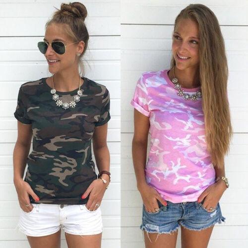 Damen Camouflage Kurzarm T-Shirt Hemd Bluse Sommer Freizeit Tunika Oberteil Tops