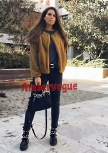 Fur New Jacket Zara Mustard Xs Size 6 Faux 4Op7nwq