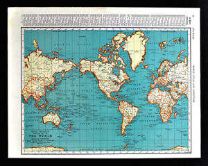 Details about 1938 McNally World Map North South America Asia Africa  Australia Europe Atlantic