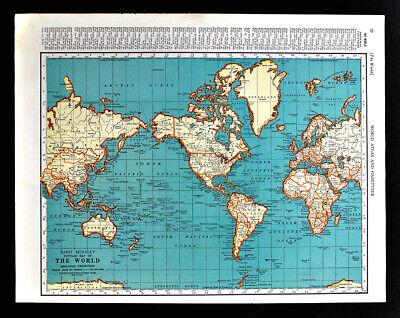 1938 Mcnally World Map North South America Asia Africa Australia Europe Atlantic Ebay