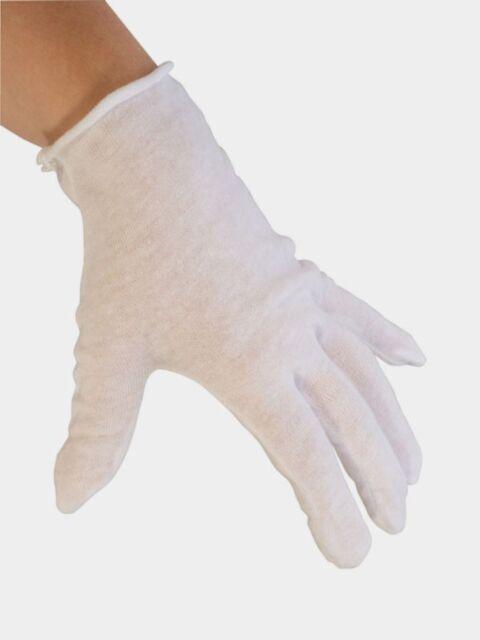 White Cotton Gloves Lisle Hand Glove Clean Handling Lint Free 100/% Cotton 12 Pr