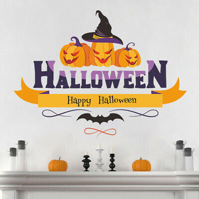 Removable Water-Activated Wallpaper Halloween Black Cat Bats Jack O Lantern