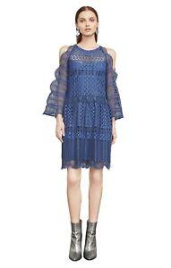 9dc16704e BCBG MAX AZRIA Finley Cold-Shoulder Lace Dress vintage blue WEP65N14 ...