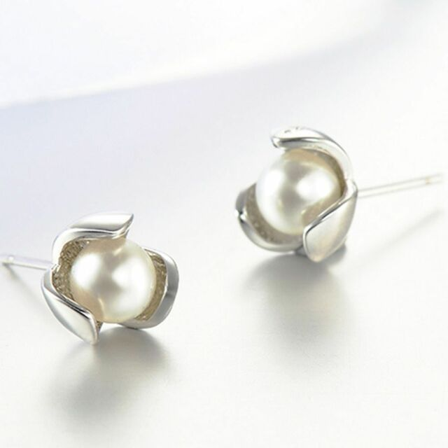 Fashion Dress Imitation Accessories New Silver Plated Pearl Ear Stud Earrings