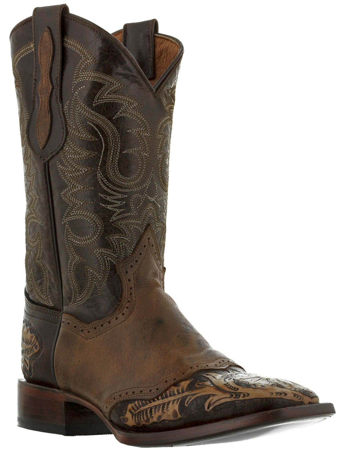 Mens Marronee hand tooled Marronee lealther cowboy stivali rodeo square toe