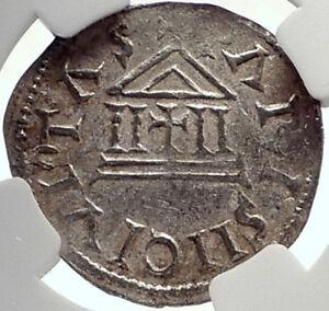 CAROLINGIAN-France-840AD-Silver-Denier-Coin-of-CHARLES-II-the-BALD-NGC-i70023