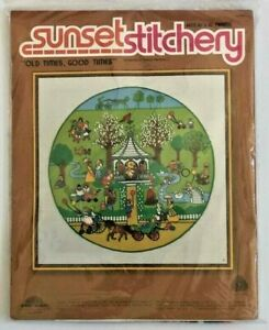 Old-Times-Good-Times-Crewel-Embroidery-Kit-16x16-Vintage-1980s-Sunset-Stitchery
