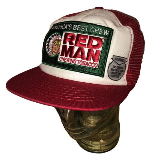 Vintage 80s Red Man Chewing Tobacco Trucker Hat Ca