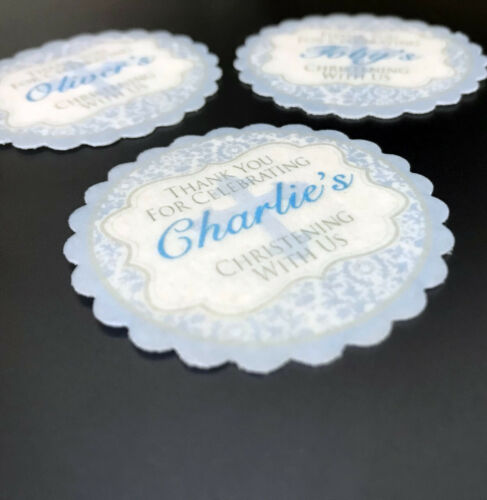 PERSONALISED BLUE Boy Christening 15 Pre-Cut Scalloped Edge Edible Cake Topper