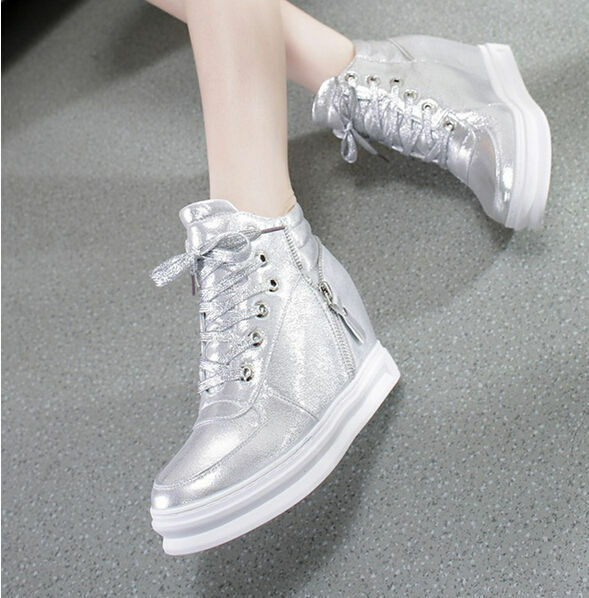 Womens Creeper Athletic Trainers Boots Lace Up Hidden Wedge Heels Sneakers shoes