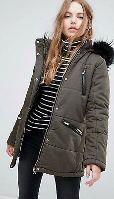 Was £50 Now £29.99 New Look Khaki Warm Quilted Parka Jacket Coat Faux Fur Hooded