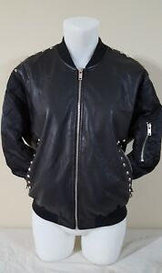 Zara-Black-Leather-Look-Bomber-Punk-Love-Embroidered-Jacket-rhinestones-Large